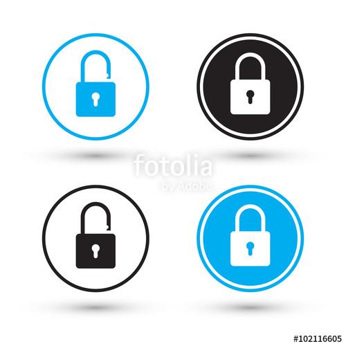 500x500 Flat Padlock Icons. Padlock Buttons. Lock And Unlock. Concept
