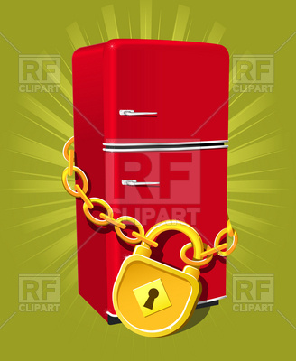 328x400 Go On Diet! Refrigerator With Chain And Lock Vector Image Vector