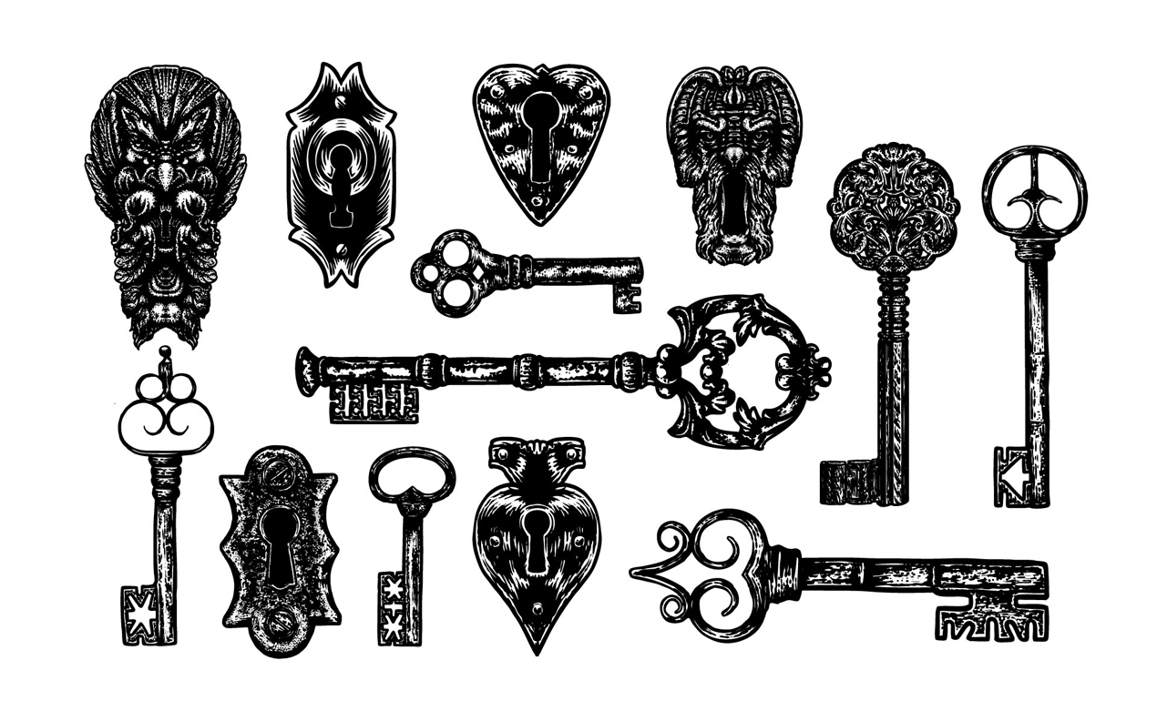 1270x770 Lock And Key Vector Pack