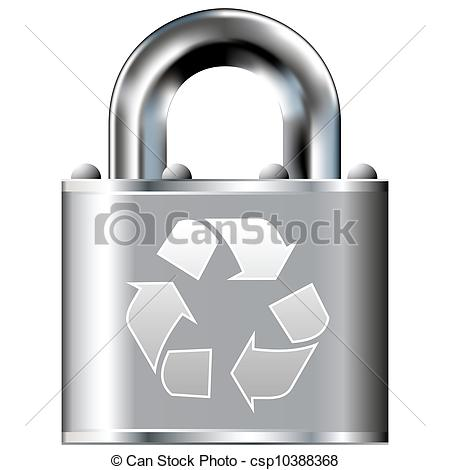 450x470 Recycling Symbol Secure Lock. Recycle Symbol Icon On Secure Vector