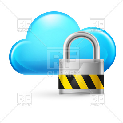 400x400 Cloud Computing Icon With Padlock Vector Image Vector Artwork Of