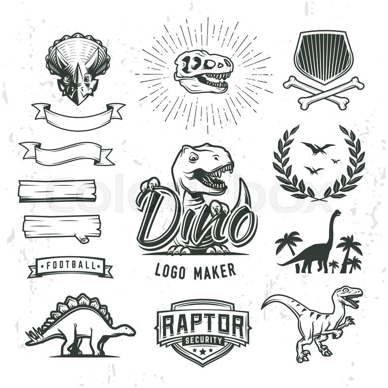800x800 Dino Logo Maker Set. Dinosaur Logotype Creator. Vector T Rex