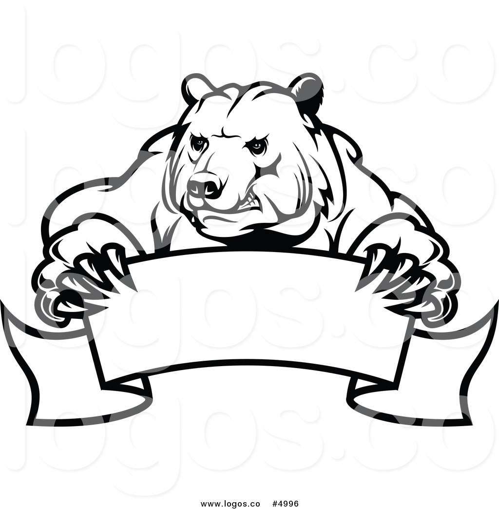 1024x1044 Royalty Free Vector Of A Black And White Bear And Banner Logo By
