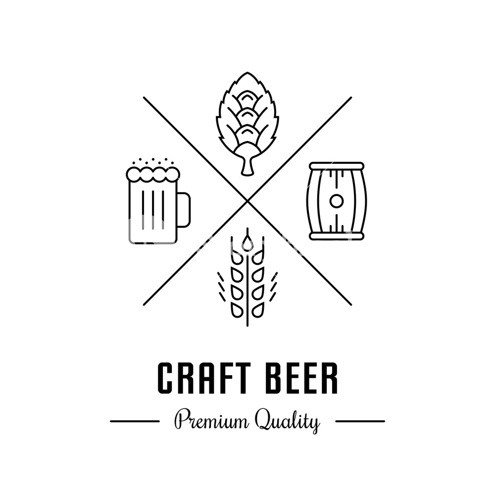 1000x1000 Vector Logo Beer With Wheat, Hops, Beer Mug And Barrel. Hipster