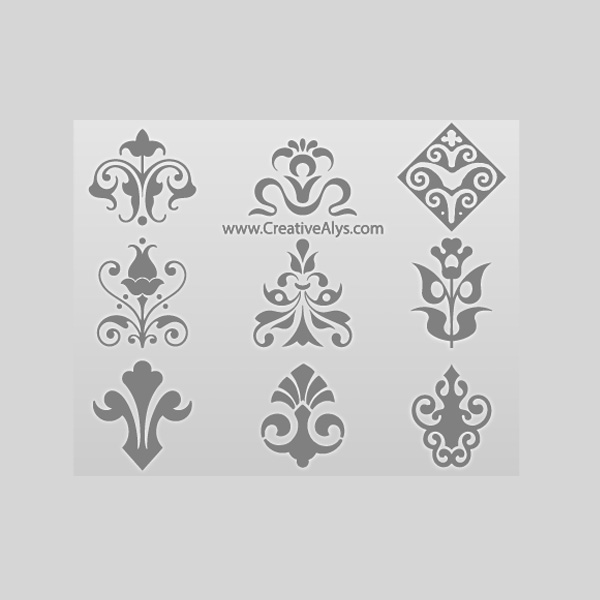 600x600 9 Decorative Floral Logo Elements Vector Set