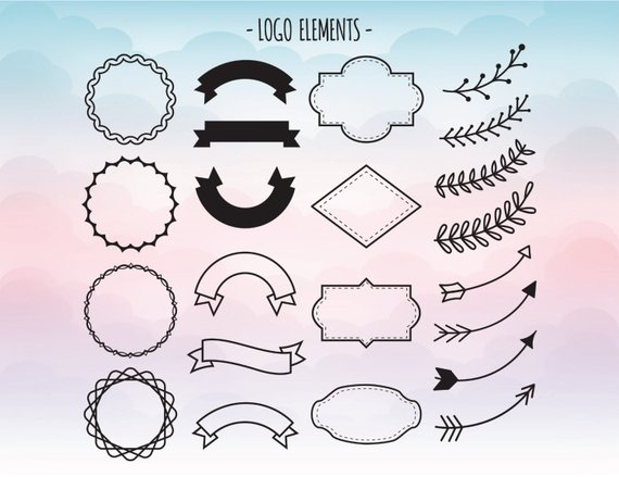 570x439 Logo Elements Svg Logo Creating Clipart Banner Vector File Etsy