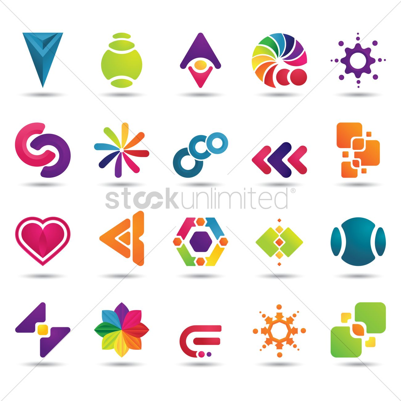 1300x1300 Set Of Abstract Logo Elements Vector Image
