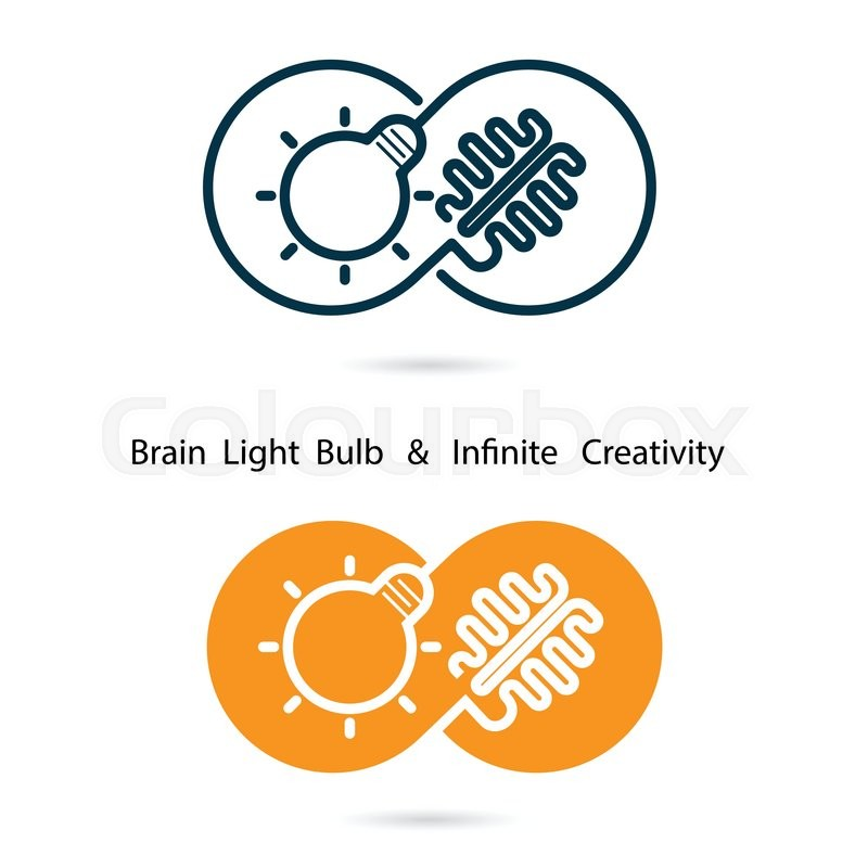 800x800 Brain And Light Bulb Sign And Infinite Creativity Logo Elements