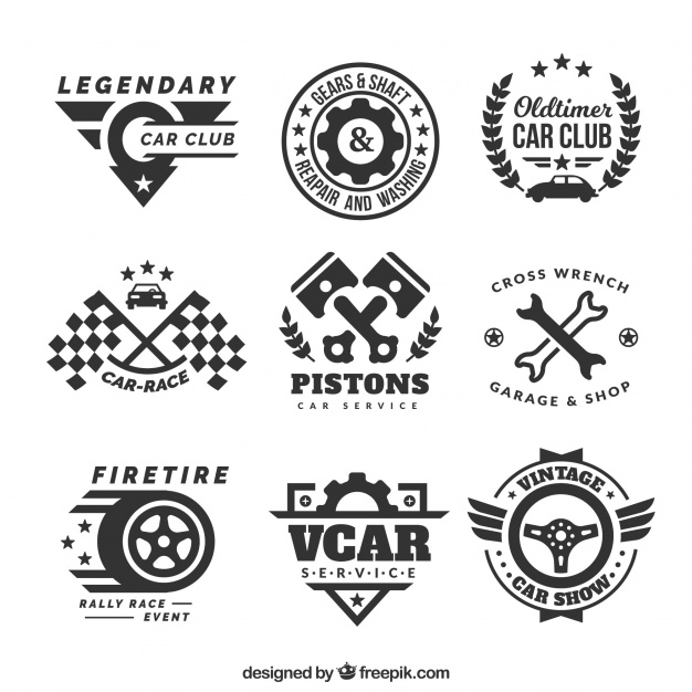 626x626 Decorative Logos With Car Elements Vector Free Download
