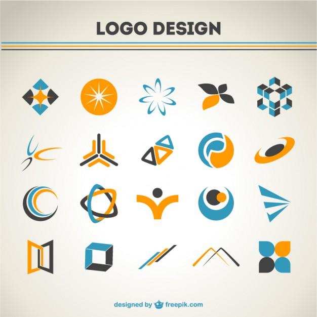 626x626 Logo And Icon Design Orange And Blue Logos Set Vector Free