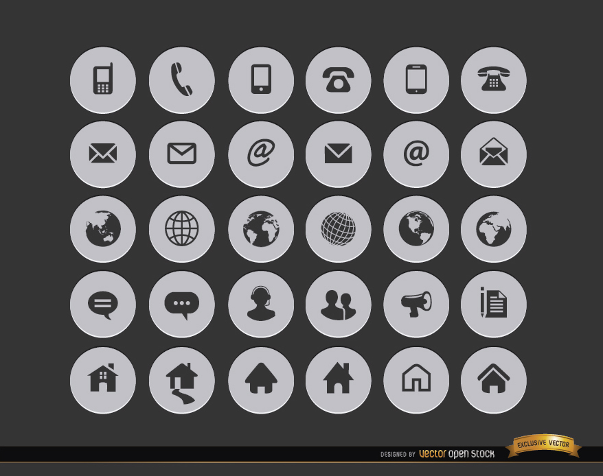 878x694 30 Internet Contact Circle Icons