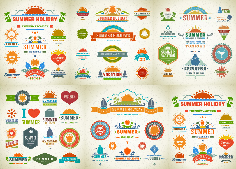 810x580 Summer Holidays Logo And Labels Free Vector Graphic Download