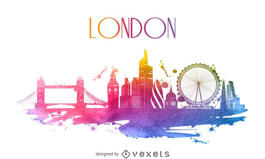 900x539 London Watercolor Skyline Silhouette