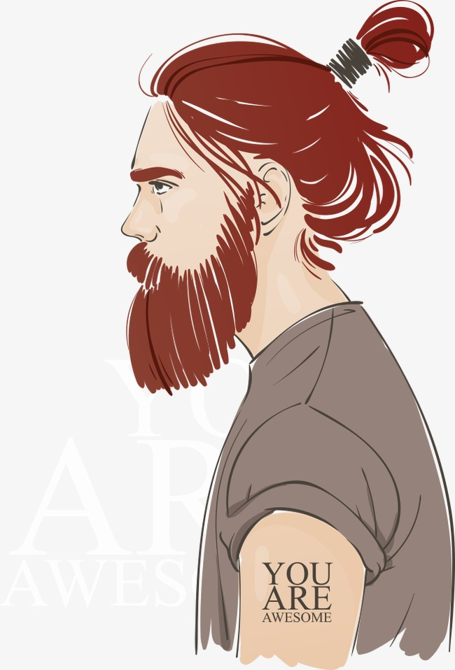 650x958 Vector Man With Long Hair Rolled Up, Man Vector, Hair Vector, The