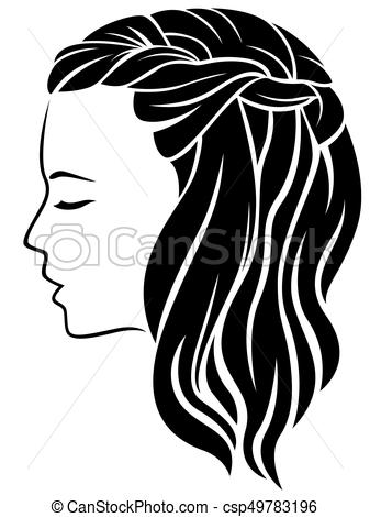 337x470 Woman With Long Hair. Young Woman With Long Fluffy Hair, Vector