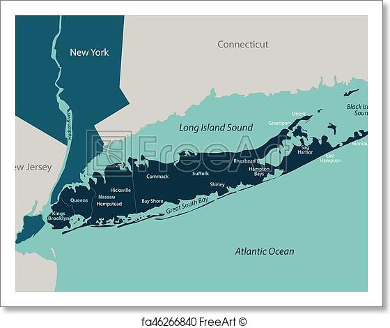 560x470 Free Art Print Of Map Of Long Island. Vector Map Of Long Island