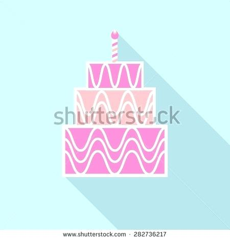 450x470 Long Cake Design And Birthday Cake Icon With Long Shadow With
