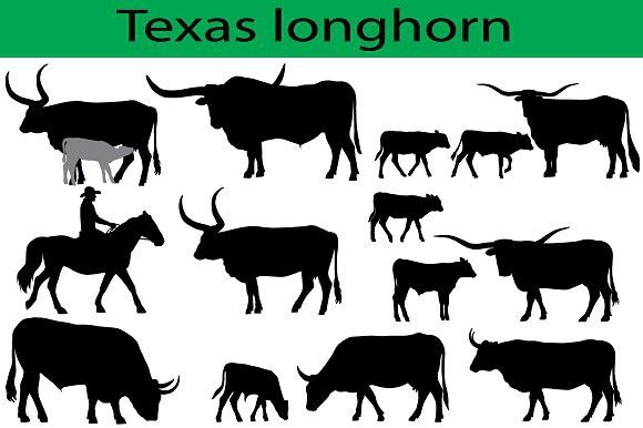 580x386 Texas Longhorn Cattle Silhouettes