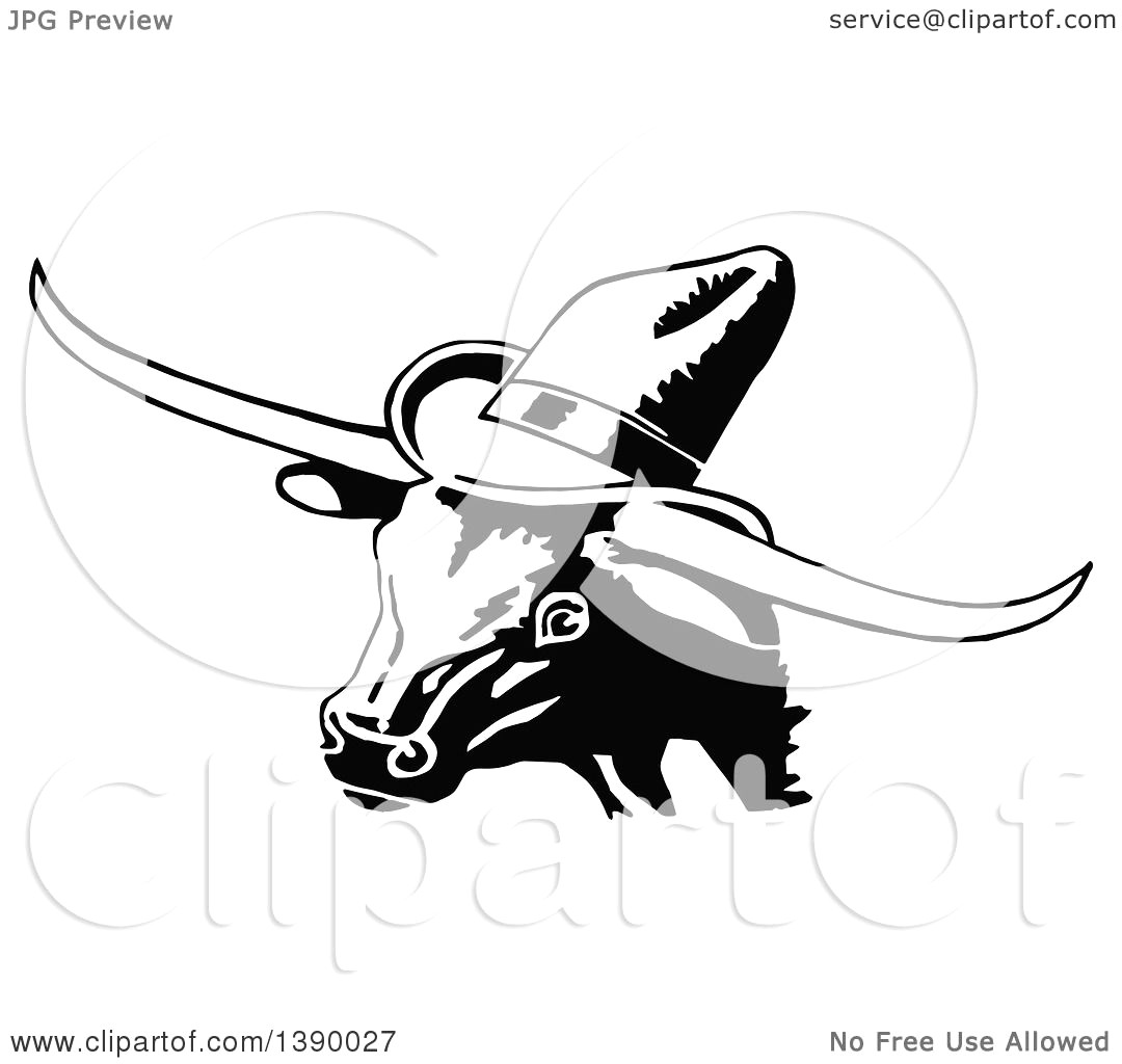 1080x1024 Clipart Of A Vintage Black And White Longhorn Cow Wearing Hat