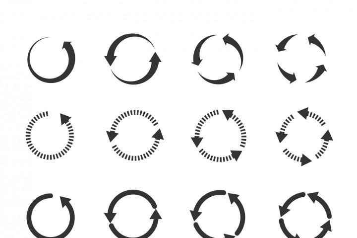 720x479 Circle Refresh Reload Rotation Loop Vector Arrows Set By