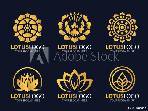 500x375 Gold Lotus Logo Vector Art Set Design