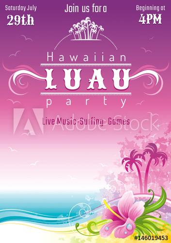 353x500 Evening Beach Sea Flyer, Hawaiian Luau Party. Watercolor Hibiscus