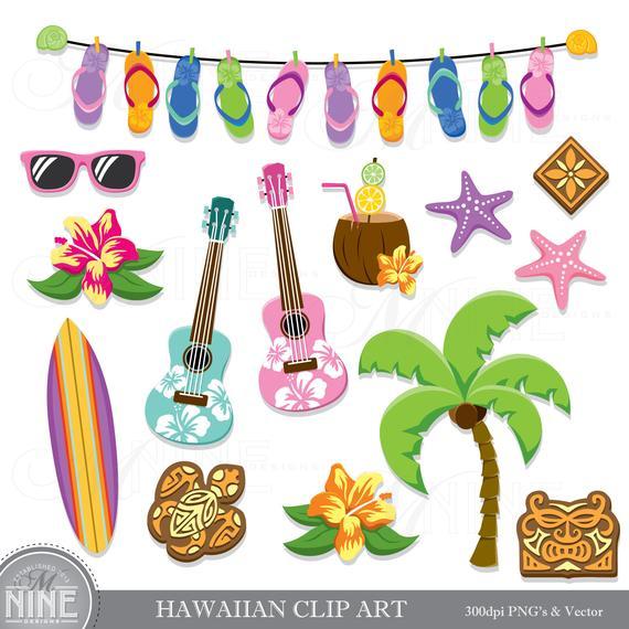 570x570 Hawaiian Clip Art Hawaii Theme Clipart Downloads Luau Clip Etsy