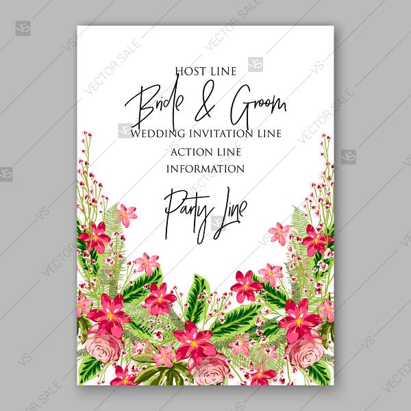 600x600 Luau Wedding Invitation Birthday Card Vector Tropical Flower Roses