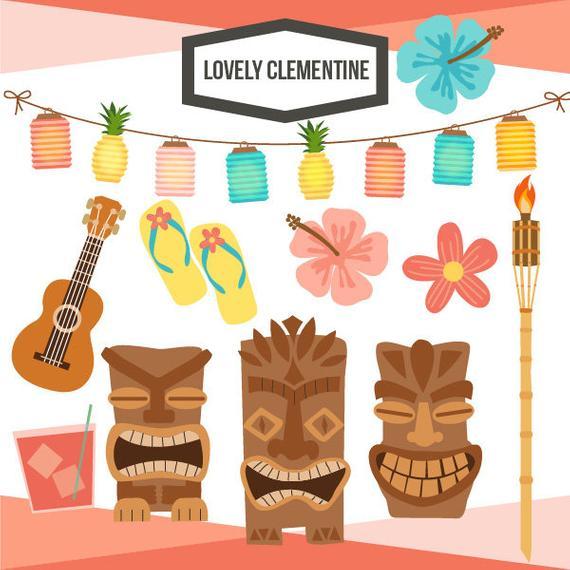 570x570 Tiki Party Clip Art Summer Clipart Tiki Vector Luau Clip Etsy
