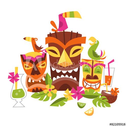 500x500 Vector Illustration Of Hawaiian Luau Party