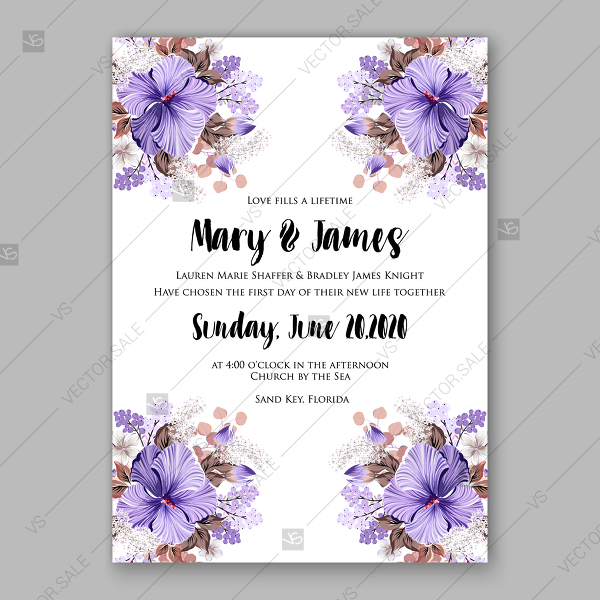 600x600 Violet Hibiscus Wedding Invitation Vector Tropical Flower Template
