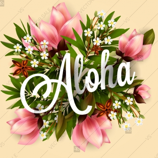 540x540 Aloha Luau Tropical Flowers Poster Invitation Hibiscus Pink Lily