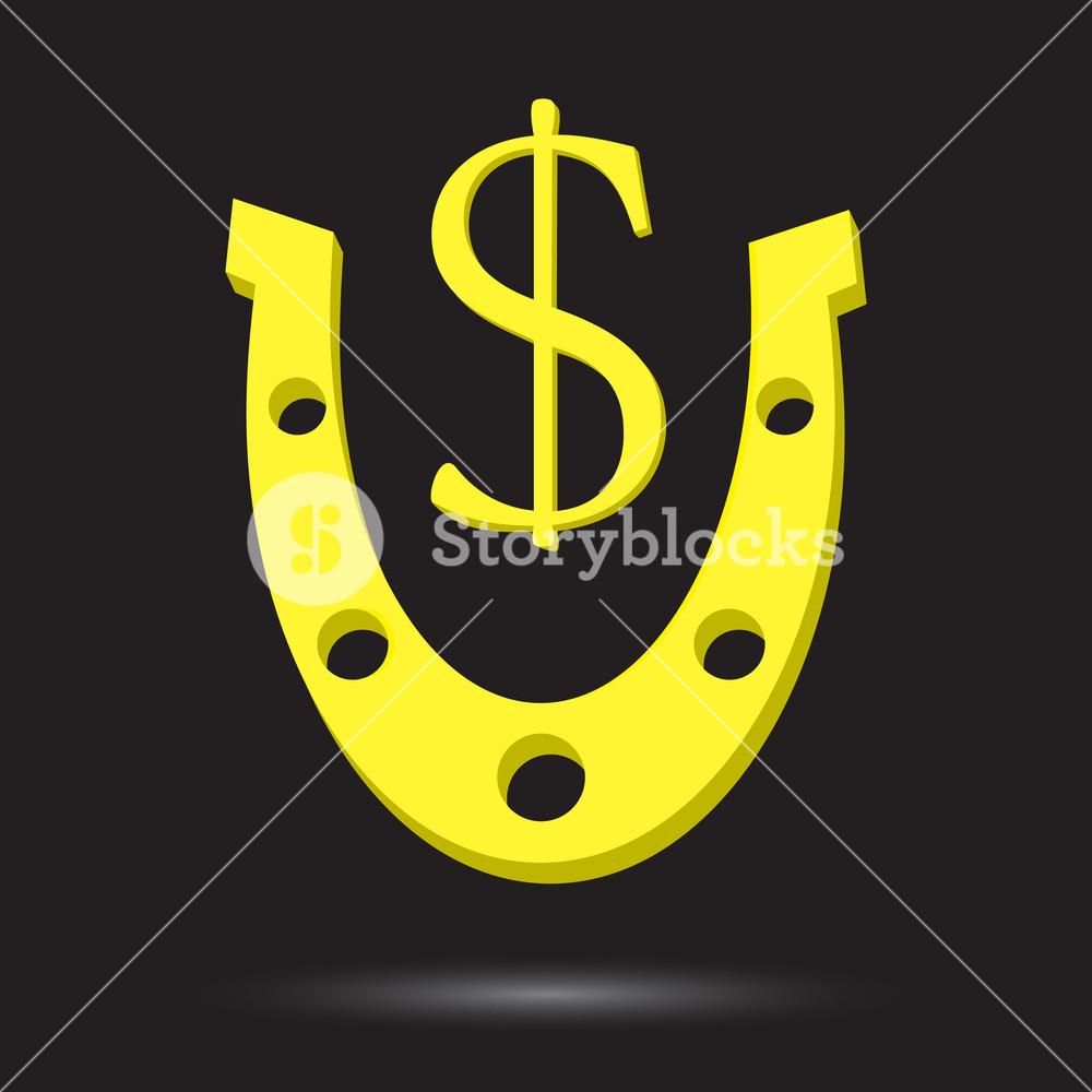 1000x1000 Golden Horseshoe With Symbol Gold Dollar. Horseshoe And Horseshoe