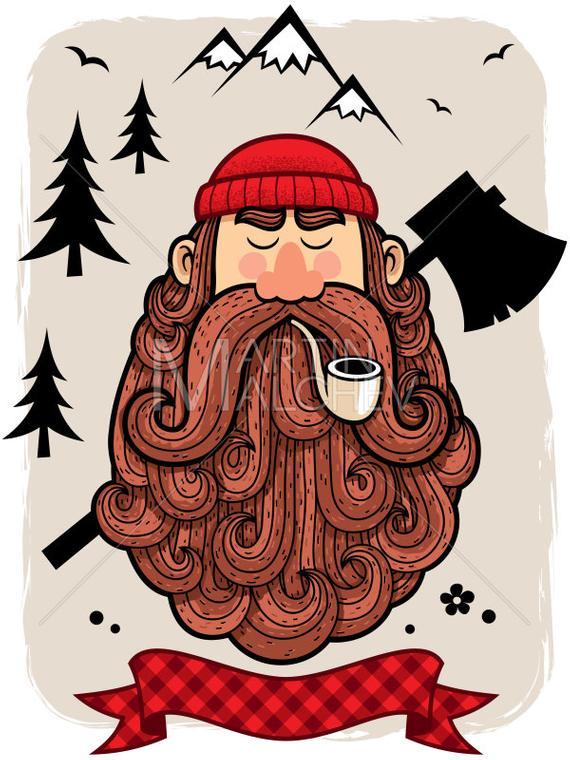 570x760 Lumberjack Vector Cartoon Illustration. Lumberman Woodsman Etsy