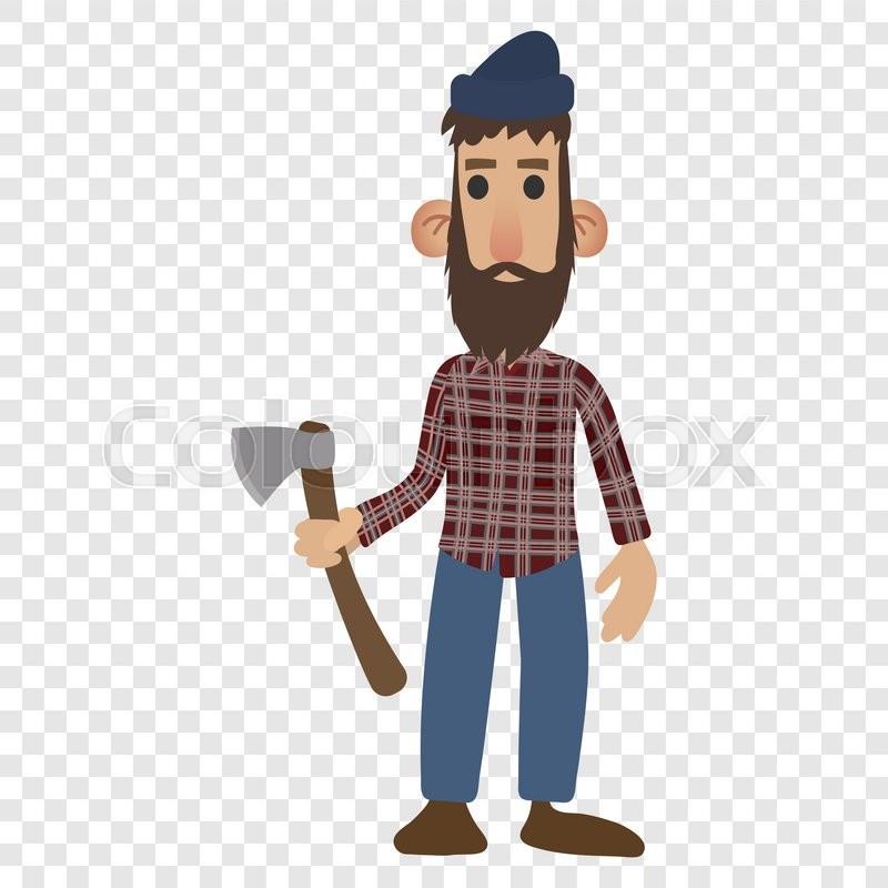 800x800 Lumberjack Cartoon Icon Isolated On Transparent Background Stock