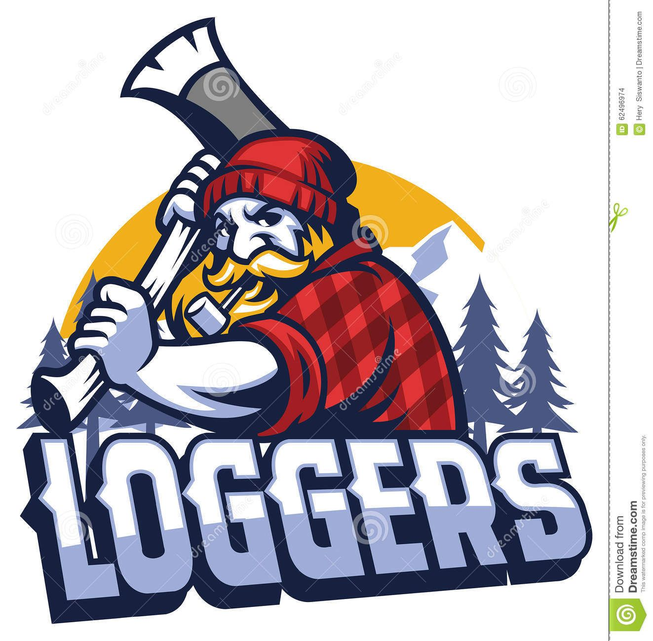 1323x1300 Photo About Vector Of Lumberjack Mascot Swinging The Axe