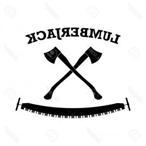 300x300 Photostock Vector Lumberjack Logo Label With Axes And Saw Lazttweet