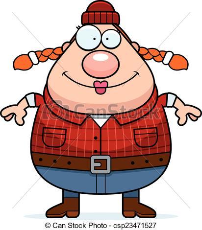 412x470 Smiling Cartoon Lumberjack. A Cartoon Illustration Of A Woman