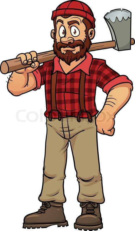 467x800 Cartoon Lumberjack Holding An Axe. Vector Illustration With Simple
