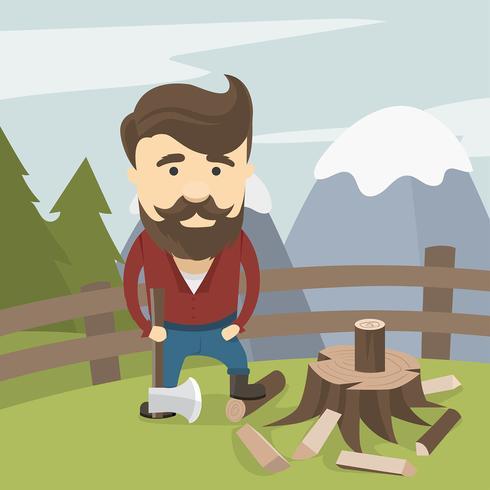 490x490 Woodcutter Lumberjack Free Vector