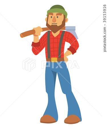 376x450 Woodcutter Bearded Lumberjack Vector Character