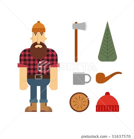 450x468 Lumberjack, Vector, Axe