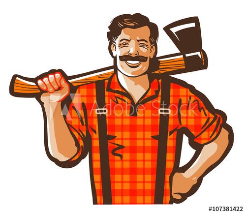 500x435 Lumberjack Vector Logo. Woodcutter Or Lumbering Icon