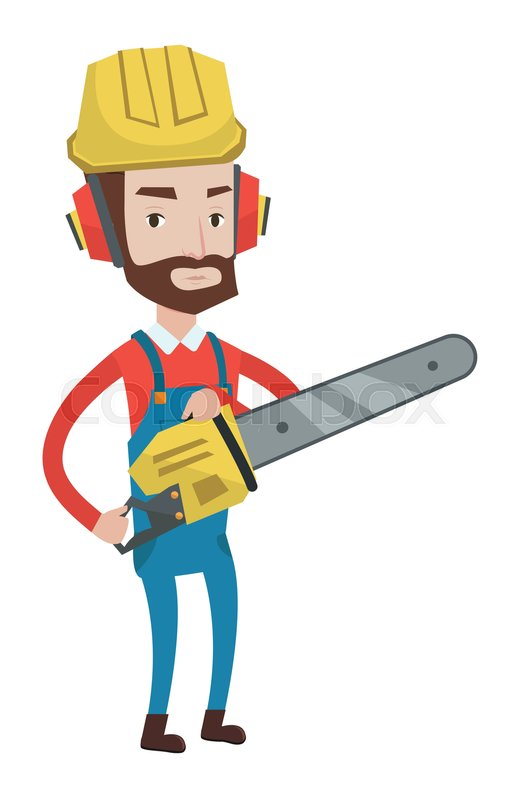 517x800 Hipster Lumberjack With Beard Holding Chainsaw. Lumberjack In