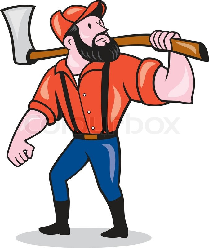 674x800 Illustration Of A Lumberjack Sawyer Forester Standing Holding An