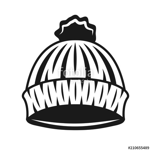 500x500 Knitted Hat Of Lumberjack Vector Black Object Stock Image And