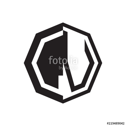 500x500 Two Letter Lv Octagon Negative Space Logo Stock Image And Royalty