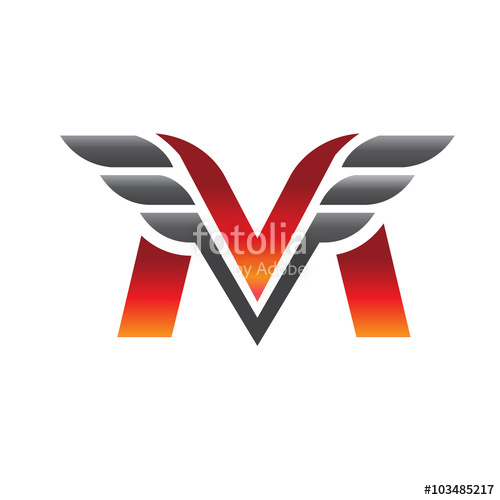 500x500 Letter M V With Wing Logo Vector Stock Image And Royalty Free