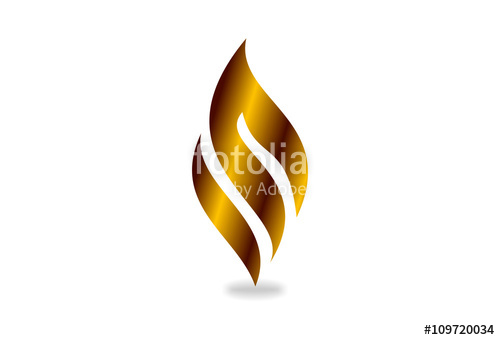 500x340 I N Or M Vector Logo Design, 3d Gold Fire Shape. Business