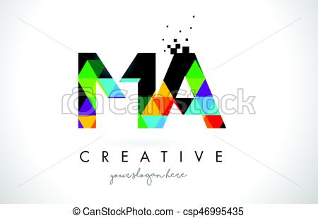 450x309 Ma M A Letter Logo With Colorful Triangles Texture Design Vector
